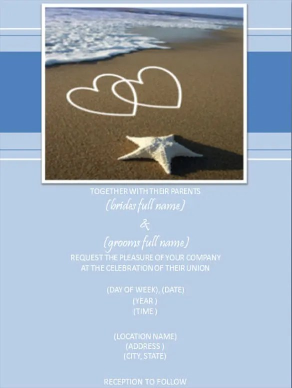 24+ Beach Wedding Invitation Templates u2013 Free Sample, Example - flyer invitation templates free