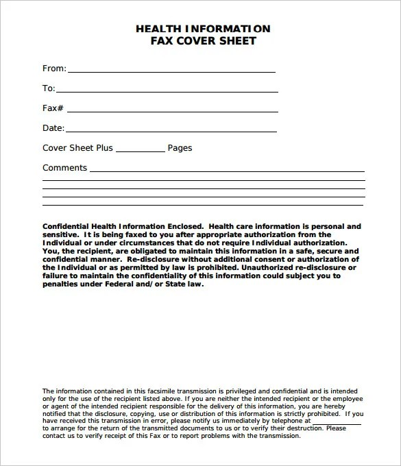 Medical Fax Cover Sheet \u2013 10+ Free Word, PDF Documents Download