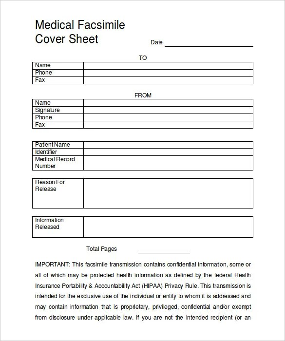 Blank Fax Cover Sheet \u2013 10+ Free Word, PDF Documents Download