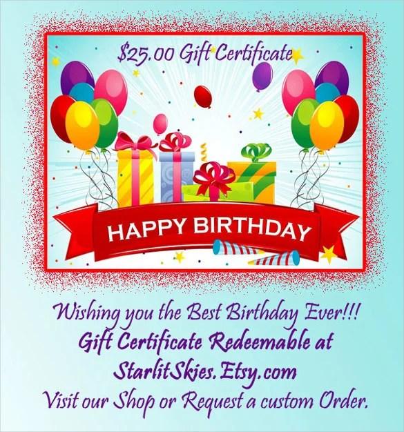 22+ Birthday Gift Certificate Templates \u2013 Free Sample, Example - sample birthday gift certificate template