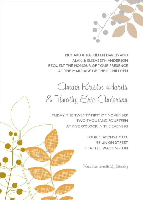 24+ Fall Wedding Invitation Templates u2013 Free Sample, Example - free download invitation templates