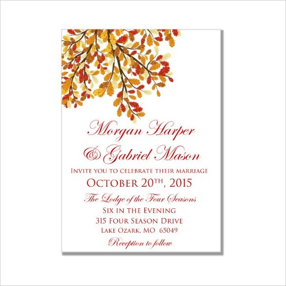 26+ Fall Wedding Invitation Templates \u2013 Free Sample, Example Format - microsoft word wedding invitation templates free