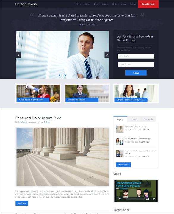 21+ Political Blog Themes  Templates Free  Premium Templates