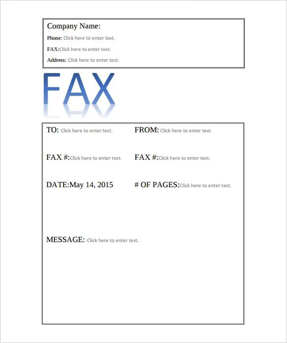 free fax sheet templates