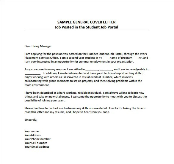 General Cover Letter Templates \u2013 18+ Free Word, PDF Documents