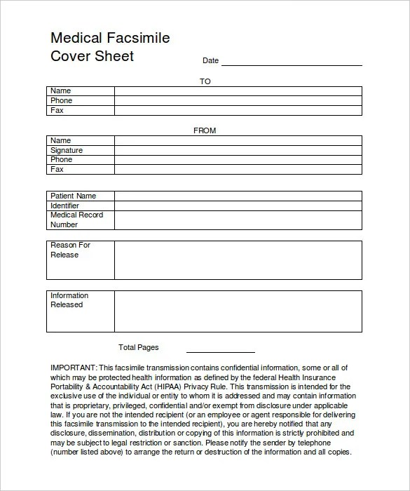 8+ Medical Fax Cover Sheet Templates u2013 Free Sample, Example Format - fax templates in word