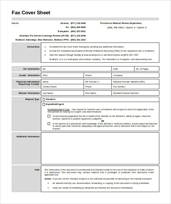 8+ Medical Fax Cover Sheet Templates \u2013 Free Sample, Example Format