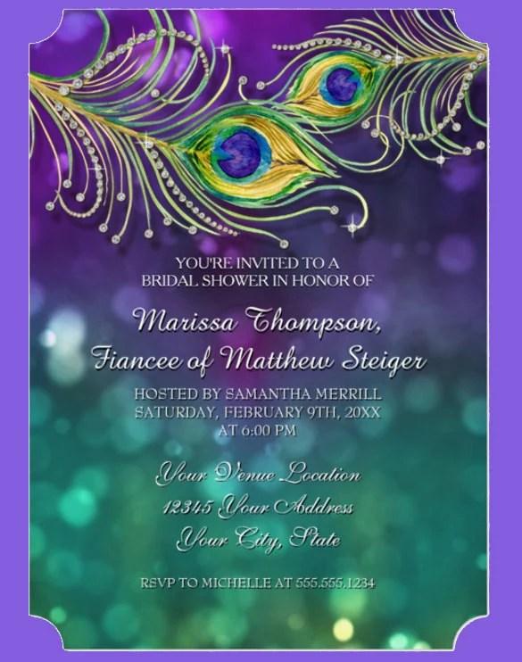 23+ Peacock Wedding Invitation Templates \u2013 Free Sample, Example
