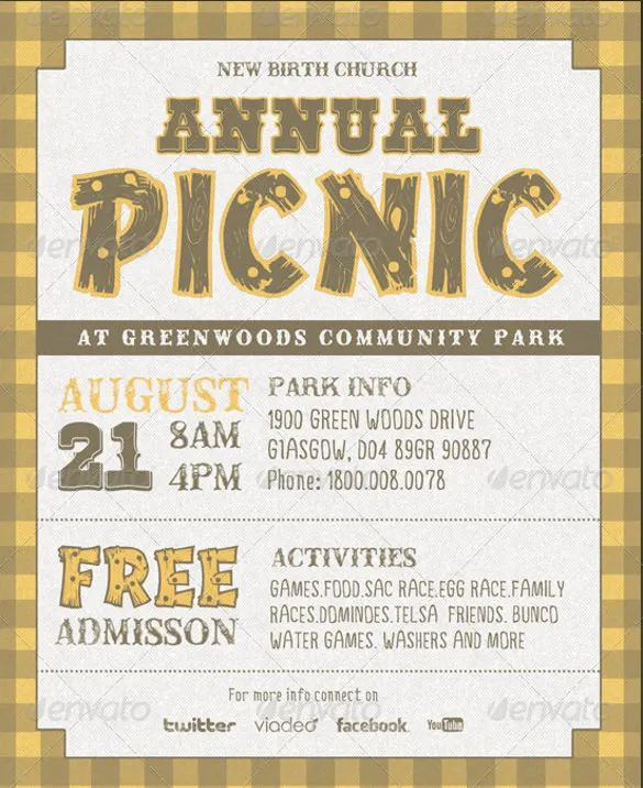 company picnic flyer template free