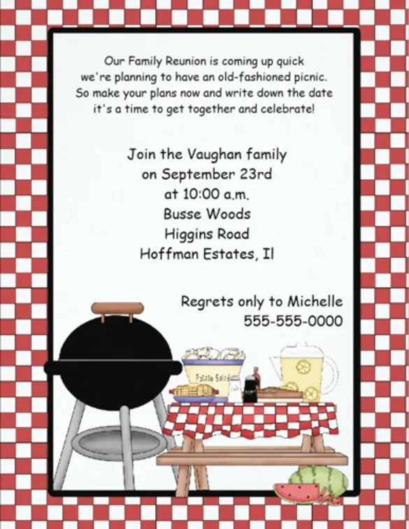 Picnic Invitation Template - 26+ Sample, Example, Format Download - family gathering invitation wording