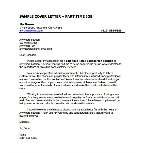 Job Cover Letter Template \u2013 13+ Free Word, PDF Documents Download