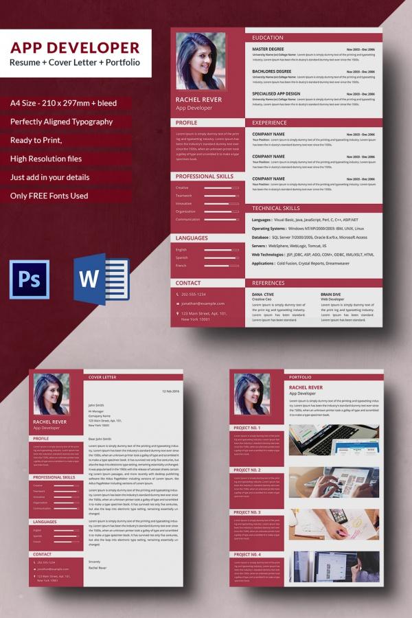 App Developer Resume + Cover Letter + Portfolio Template Free - Resume Template App