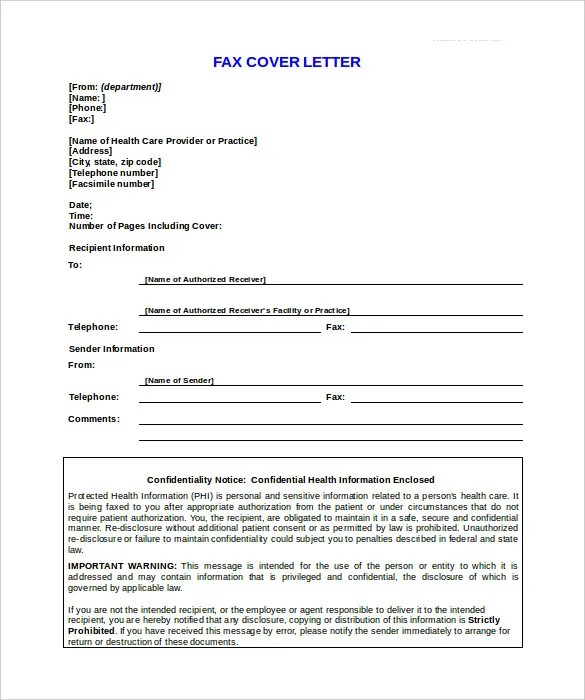10+ Confidential Fax Cover Sheet Templates \u2013 Free Sample, Example - Fax Letter Format Sample