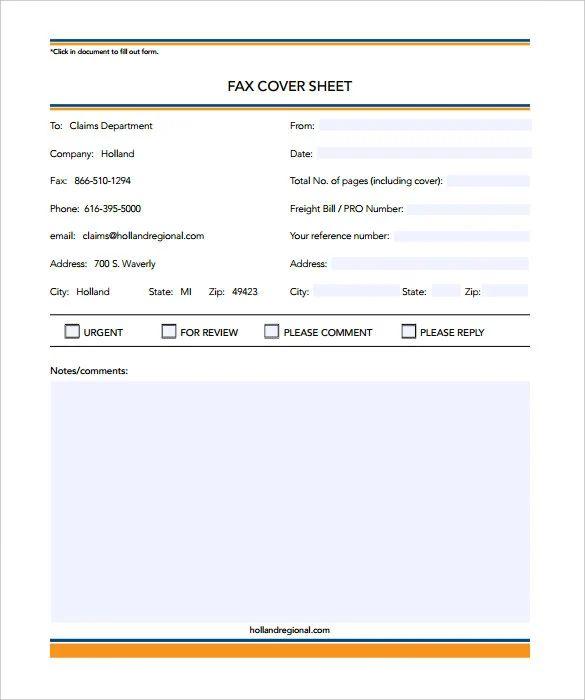 editable fax cover sheet