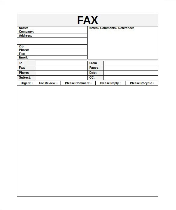 10+ Business Fax Cover Sheet Templates \u2013 Free Sample, Example Format