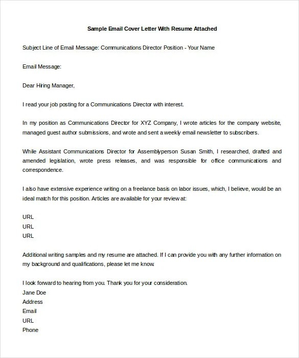 sample cover letter for email - Minimfagency