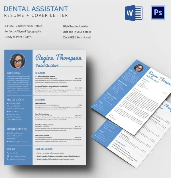 Dental Assistant Resume + Cover Letter Template Free  Premium - sample dental assistant resume cover letter