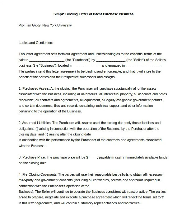 Simple Letter Of Intent \u2013 11+ Free Word, PDF Documents Download