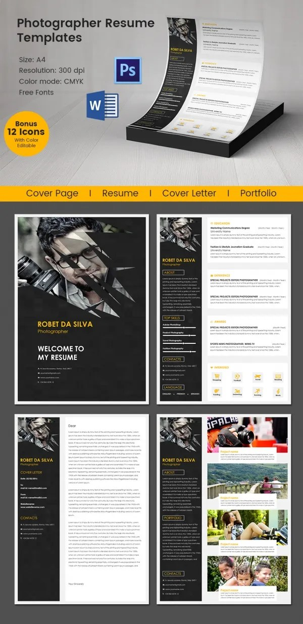 Creative Photographer Resume + Cover Letter + Portfolio Template