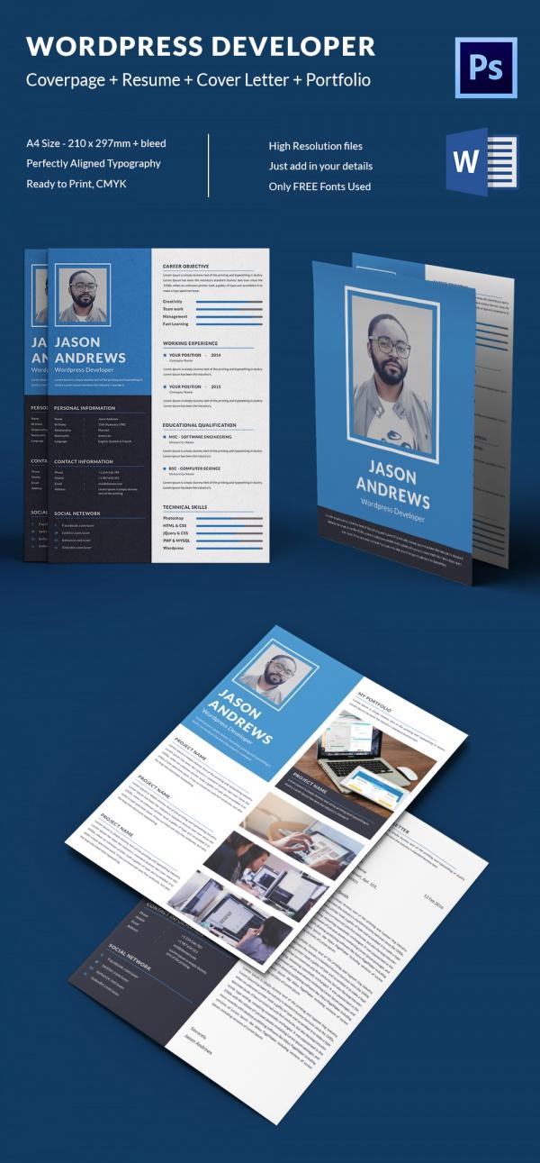 WordPress Developer Resume + Cover Letter + Portfolio Template - wordpress resume template