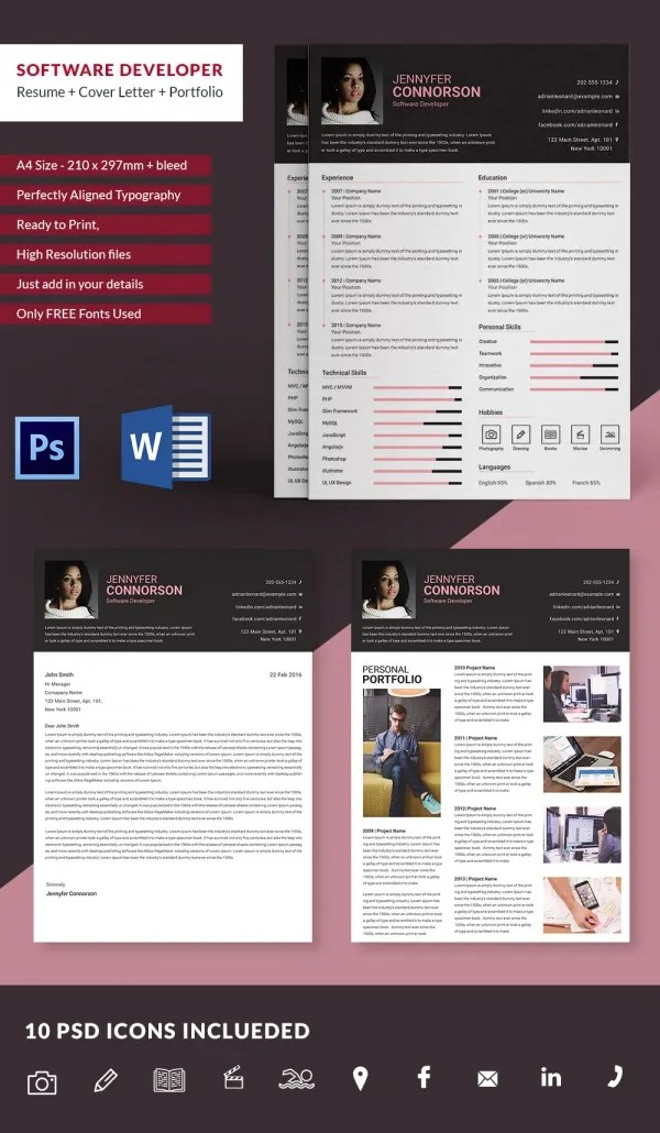 Software Developer Resume + Cover Letter + Portfolio Template Free