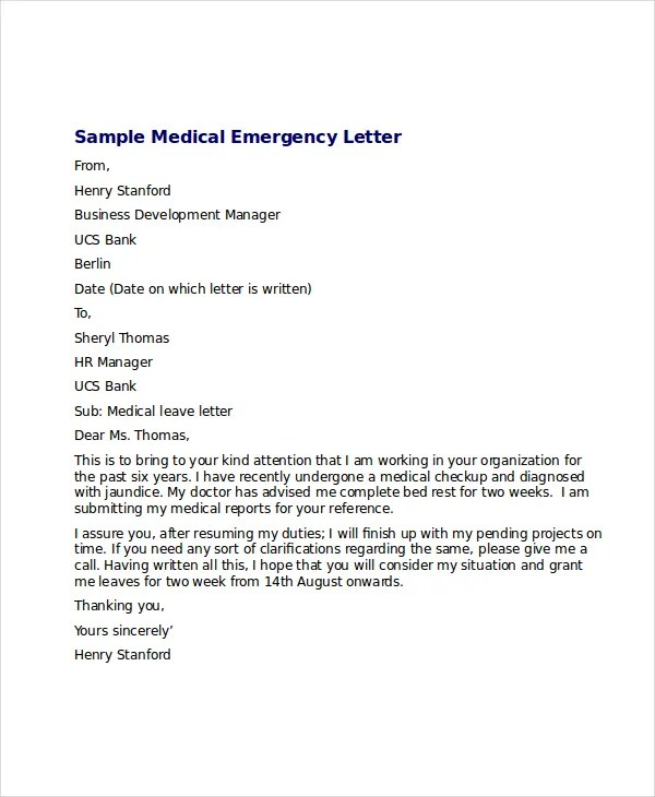 Medical Leave Letter - 8+ Free Word, Excel, PDF Documents Download - leave letter