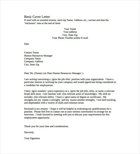 Simple Cover Letter Template \u2013 20+ Free Word, PDF Documents Download - It Cover Letters