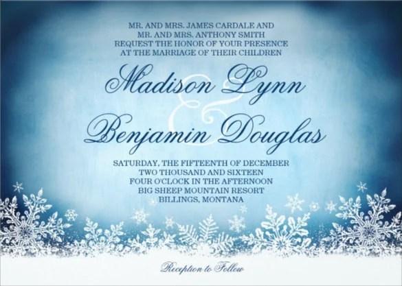 15+ Winter Wedding Invitation Templates \u2013 Free Sample, Example