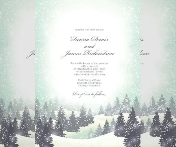 15+ Winter Wedding Invitation Templates \u2013 Free Sample, Example