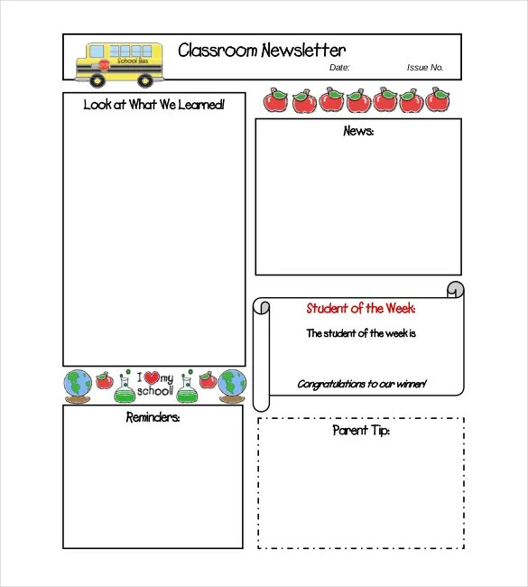 Classroom Newsletter Template \u2013 9+ Free Word, PDF Documents Download