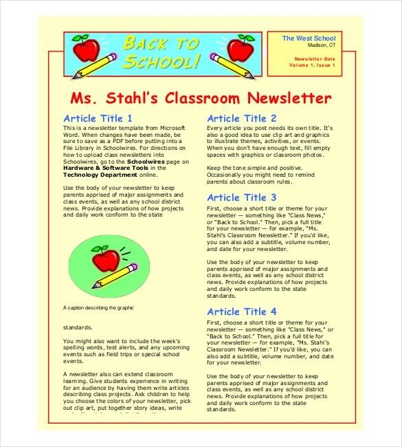 Classroom Newsletter Template \u2013 9+ Free Word, PDF Documents Download