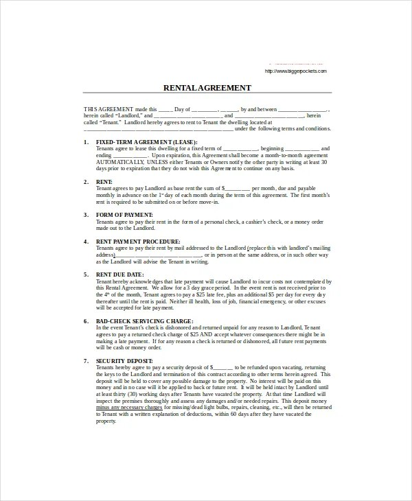 Rental Agreement Template - 9+ Free Word, PDF Documents Download - property lease agreement template