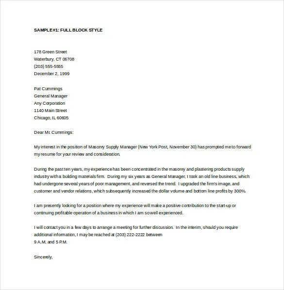 General Cover Letter Templates \u2013 18+ Free Word, PDF Documents - Cover Letter Word Templates