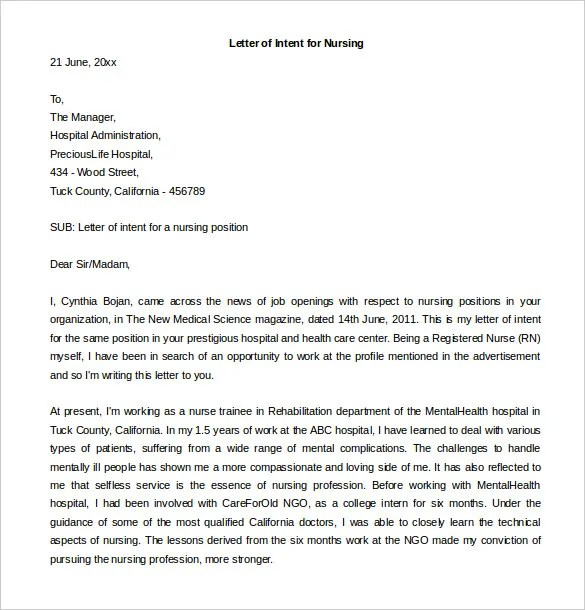 Letter Of Intent For A Job \u2013 11+ Free Word, PDF Documents Download - letter of intent for a job