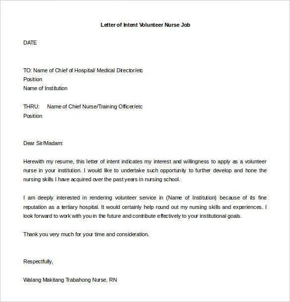 Letter Of Intent For A Job \u2013 11+ Free Word, PDF Documents Download