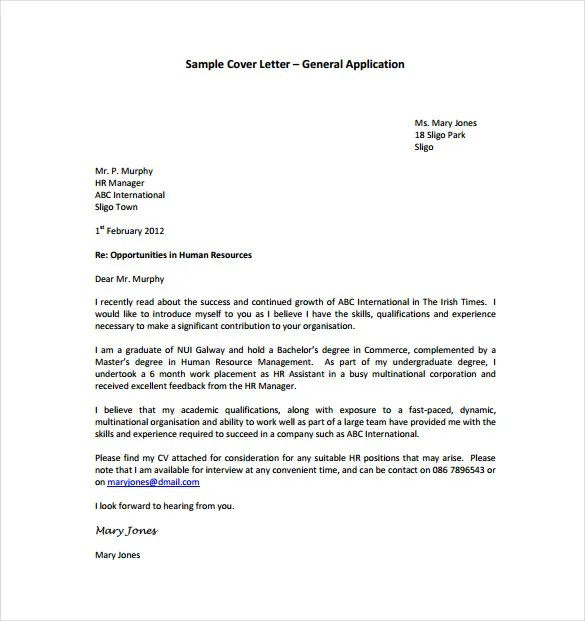 General Cover Letter Templates \u2013 18+ Free Word, PDF Documents - how to do a cover letter for a cv