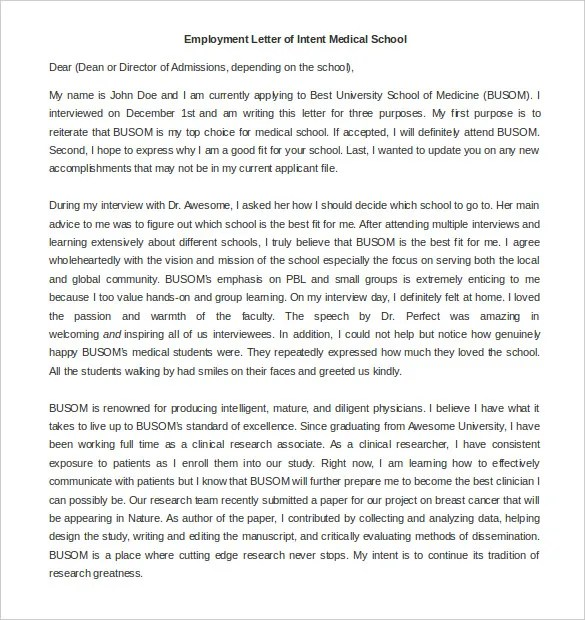 Employment Letter Of Intent \u2013 9+ Free Word, PDF Documents Download