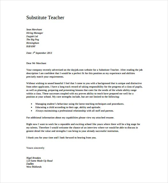 11+ Teacher Cover Letter Templates \u2013 Free Sample, Example, Format - cover letter for teacher resume