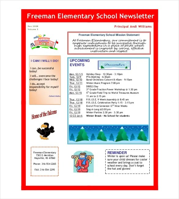 School Newsletter Template - 9+ Word, PDF, PSD Documents Download