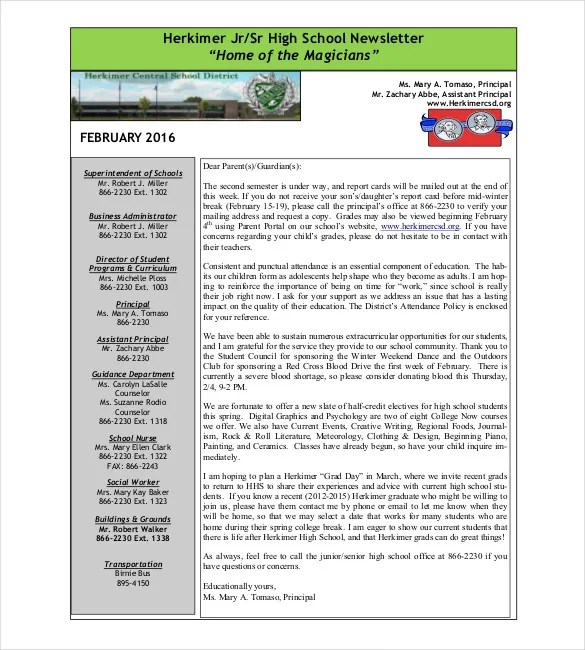 7+ School Newsletter Templates - Free Sample, Example, Format