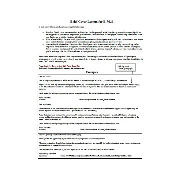 9+ Email Cover Letter Templates \u2013 Free Sample, Example, Format