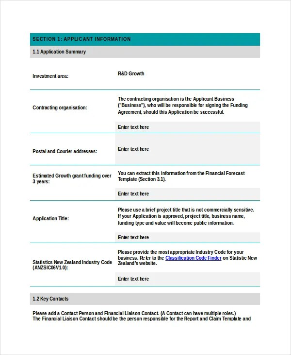 Grant Application Templates - 6+ Free Word, PDF Download Free - sample grant applications