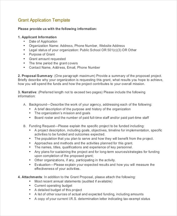 Grant Application Templates - 6+ Free Word, PDF Download Free