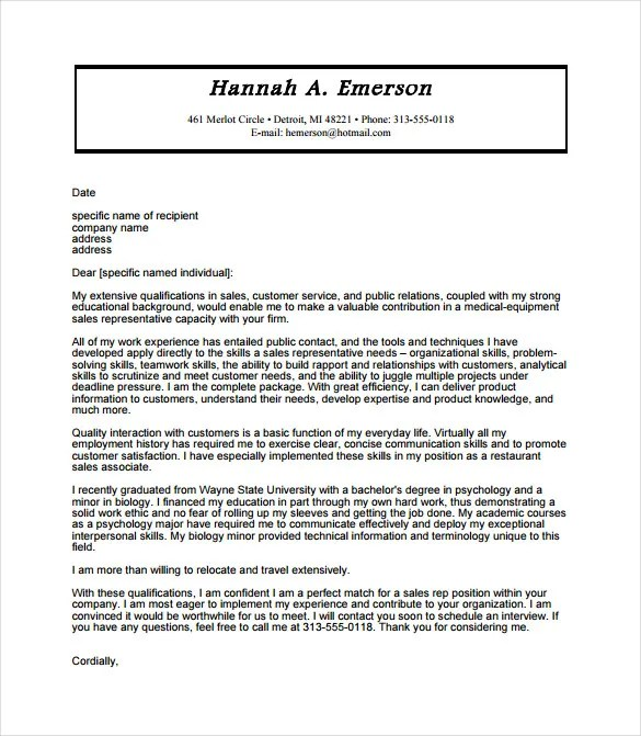 12+ Sales Cover Letter Templates \u2013 Free Sample, Example, Format - sales cover letter examples