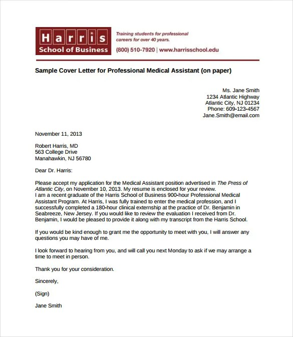Medical Cover Letter Template \u2013 6+ Free Word, PDF Documents Download
