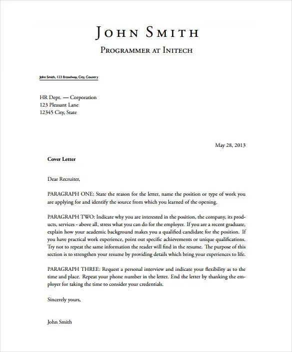 sample cover letter free - Solidgraphikworks