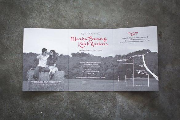 Tri Fold Wedding Invitation Template \u2013 13 + PSD Formats Download