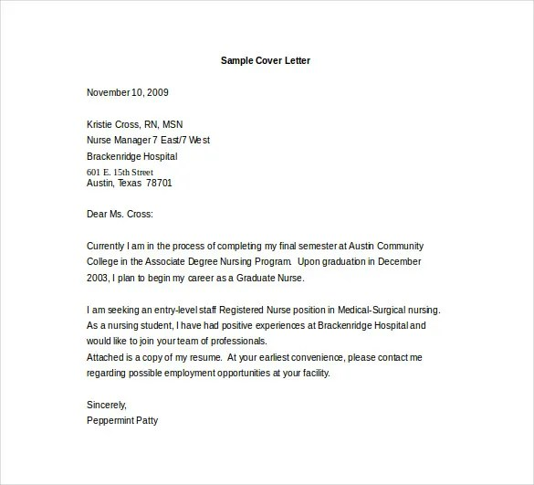 Entry Level Cover Letter Template - 12+ Free Sample, Example, Format - resume coverletter
