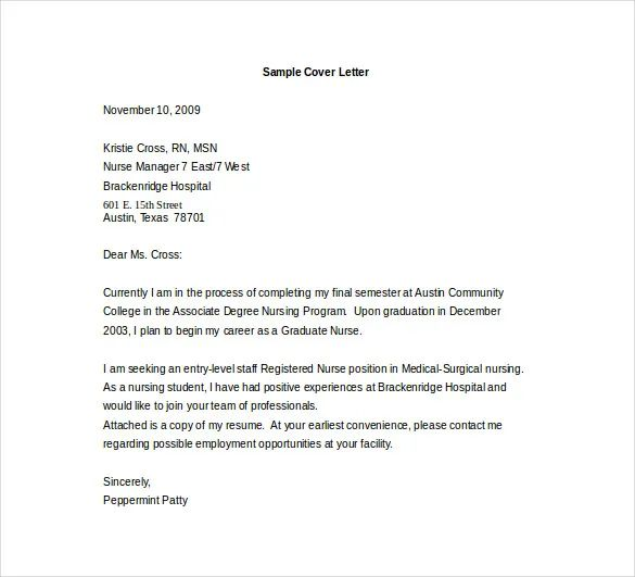 cover letter examples for nurses