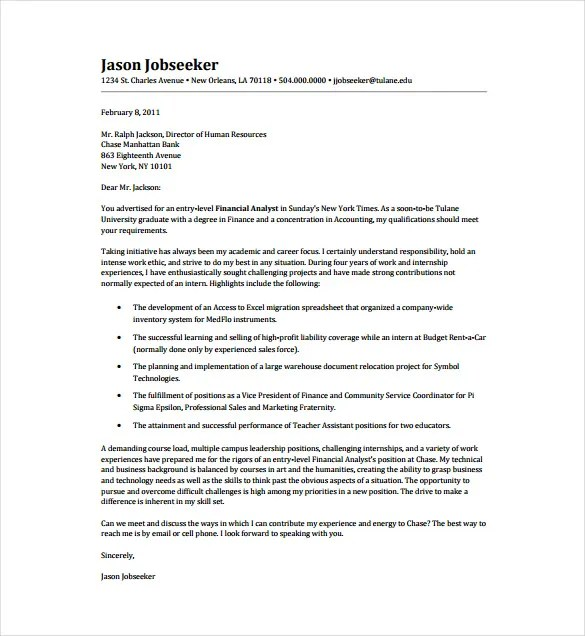 Entry Level Cover Letter Template - 11+ Free Sample, Example, Format - cover letter template entry level